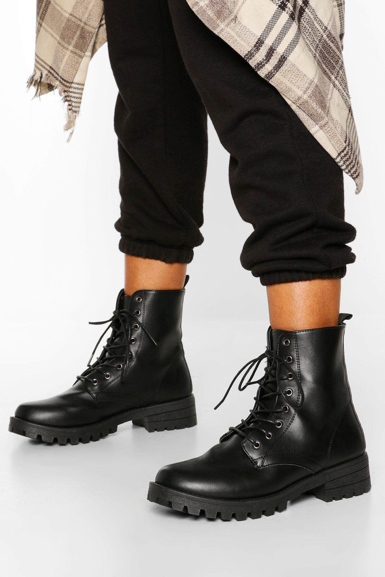 Chunky Cleated Hiker Boots | Boohoo UK