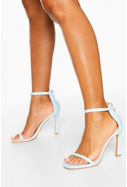 Blue Skinny Strap Stiletto Heel 2 Parts