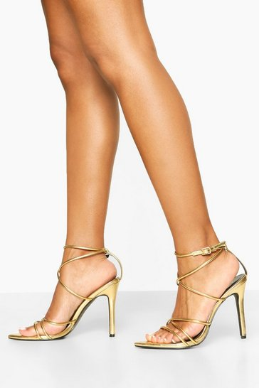Gold metallic Pointed Toe Strappy Heels