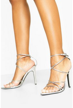 Silver Pointed Toe Strappy Heels