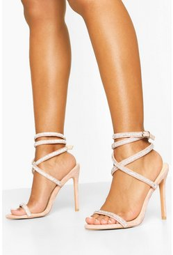 Nude Embellished Wrap Strap Stiletto Heel Sandals