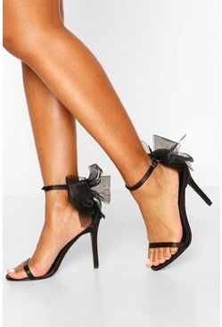 Black Bow Back Two Part Heels