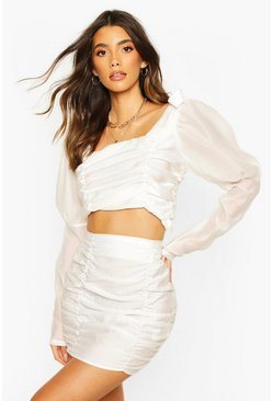 White Woven Rouched Mini Skirt