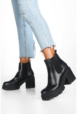 Black Chunky Cleated Chelsea Boots