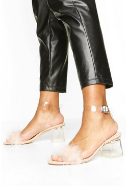 Nude Feather Low Clear Heel 2 Parts