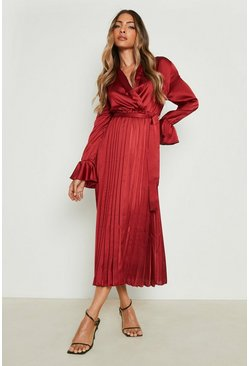 Satin Pleated Midaxi Dress, Berry rosso