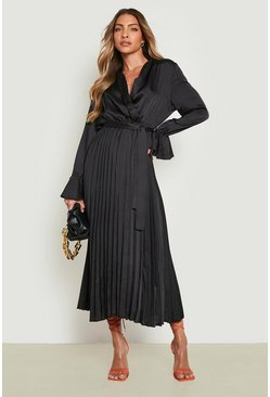 Black Satin Pleated Midaxi Dress