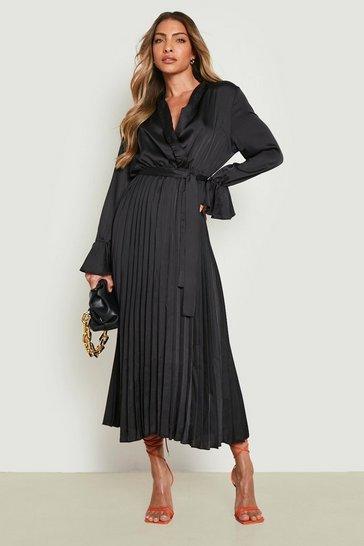 Black Satin Pleated Midaxi Dress