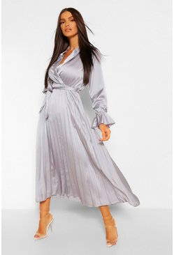 Grey Satin Pleated Midaxi Dress
