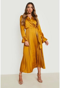 Mustard yellow Satin Pleated Midaxi Dress