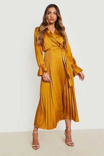 Mustard yellow Satin Pleated Midaxi Dress