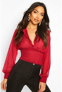 Wine red Dobby Spot Shirred Waist Blouse
