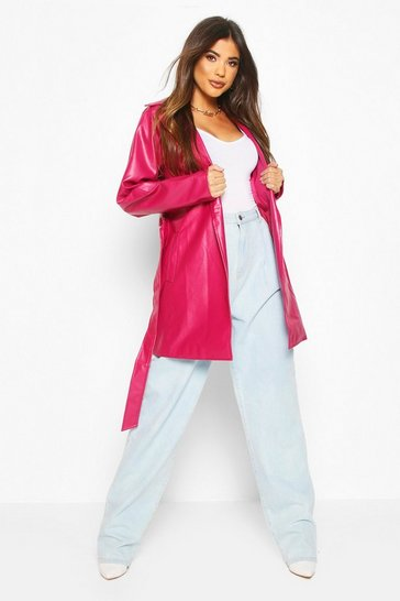Raspberry Leather Look PU Belted Wrap Jacket