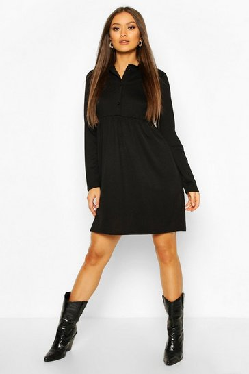 Black Button Detail Smock Dress
