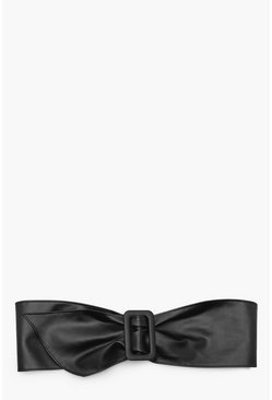 Black Faux Leather Waist Buckle Belt