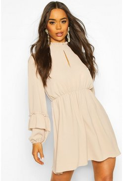 Stone beige Shirred Neck Skater Dress