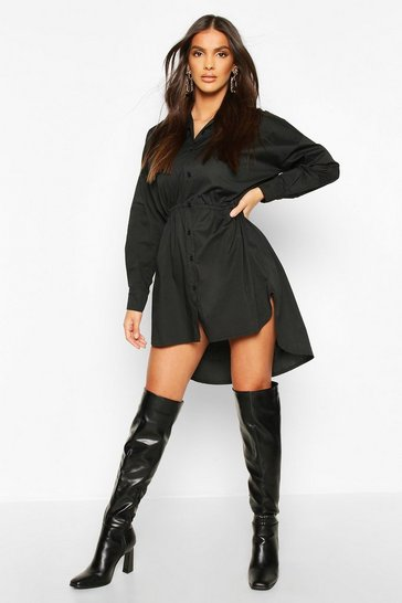 Black Drawstring Shirt Dress