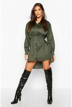 Khaki Drawstring Shirt Dress