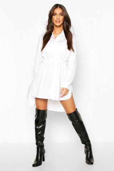 White Drawstring Shirt Dress