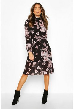 Floral Print Ruffle Neck Midi Dress, Black nero