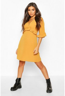 Mustard yellow Ruffle Smock Dress