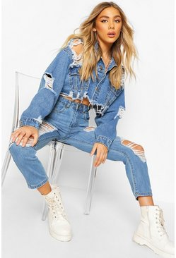 Mid blue blue Distressed Cropped Denim Jacket