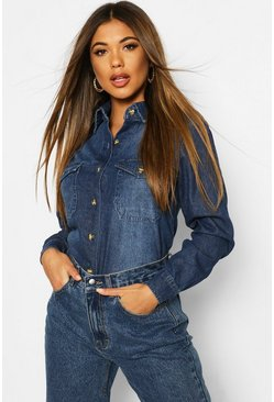 Dark blue blue Mock Horn Button Denim Shirt