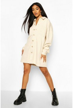 Longline Shirt Dress, Ecru blanco
