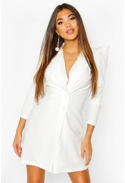 White Extreme Puff Sleeve Wrap Blazer Dress