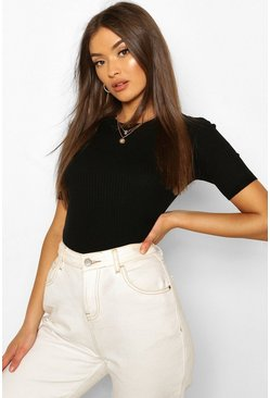 Black Rib Knit Crew Neck Short Sleeve Knitted Top