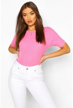 Baby pink pink Rib Knit Crew Neck Short Sleeve Top