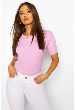 Lilac purple Rib Knit Crew Neck Short Sleeve Top