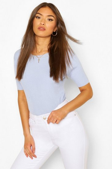 Sky blue Rib Knit Crew Neck Short Sleeve Top