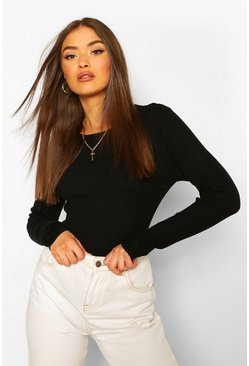 Black Rib Knit Crew Neck Long Sleeve Top
