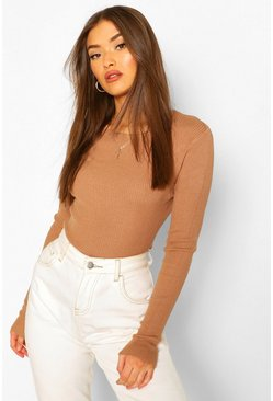 Camel beige Rib Knit Crew Neck Long Sleeve Top
