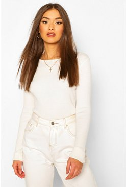 Cream white Rib Knit Crew Neck Long Sleeve Top