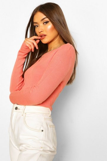 Salmon pink Rib Knit Crew Neck Long Sleeve Top