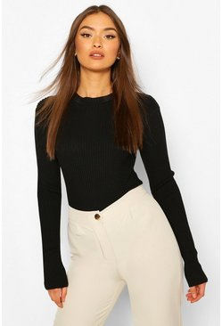 Black Rib Knit Crew Neck Racer Bodysuit