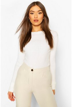Cream Rib Knit Crew Neck Racer Bodysuit