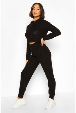 Black Hooded Knitted Lounge Set