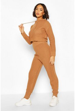 Camel beige Hooded Knitted Lounge Set
