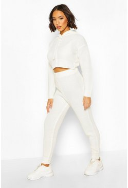 Cream white Hooded Knitted Tracksuit