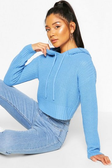 Blue Knitted Hooded Cropped Jumper