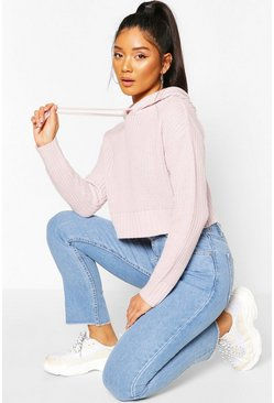 Lilac purple Knitted Hooded Cropped Jumper