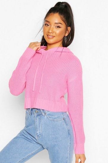 Pink Knitted Hooded Cropped Jumper