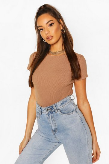 Camel beige Rib Knit Crew Neck Short Sleeve Knitted Bodysuit