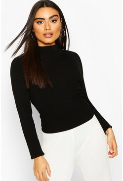 Black Rib Knit Turtle Neck Top