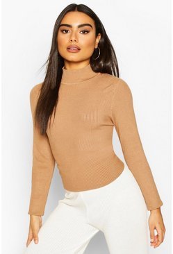 Camel beige Rib Knit Turtle Neck Top