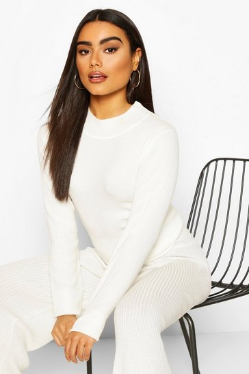 Cream white Rib Knit Turtle Neck Top