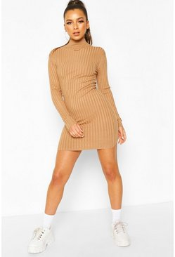 Rib Knit Turtle Neck Knitted Dress, Camel